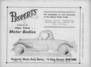 Propert's advertisement taken from the Municipality of Newtown Diamond Jubilee Souvenir Book. See the Jubilee Books.