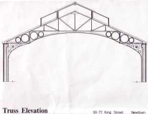 Truss elevation of the Trocadero roof. Courtsey of Audio-visual Library, Faculty of Architecture - University of Sydney.
