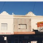 Date on facade, 1884, Name, J. Chard. Newtown Real Estate, Dress Shop, Vacant Shop.
